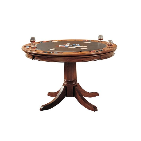 """Hillsdale Furniture 4186GTB Park View 52"""" Diameter Wood Framed Contemporary Gaming Table with Dual Tabletop - Medium Brown Oak"""