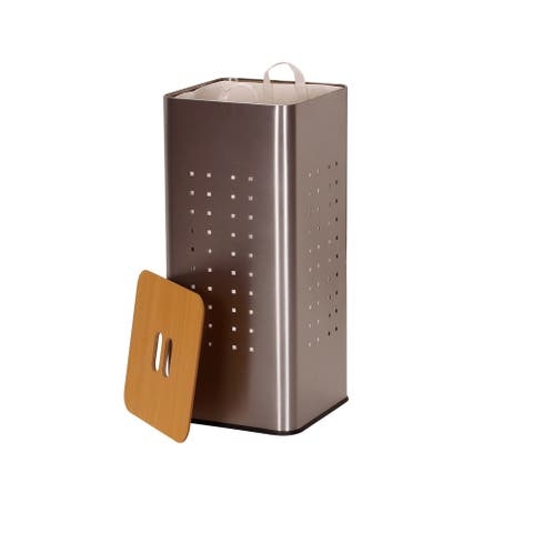 Household Essentials Square Metal Laundry Hamper -Removable Liner Bag and Wood Lid - Stainless Steel