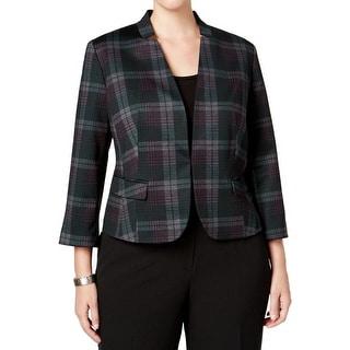 Nine West NEW Purple Women's Size 18W Plus Plaid Printed Jacket