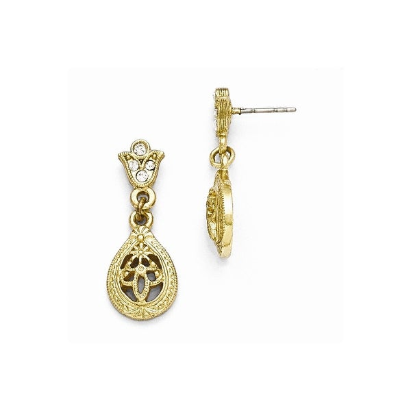 Goldtone Clear Crystal Post Earrings