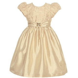 Jayne Copeland Little Girls Champagne Lace Brooch Accent Christmas Dress