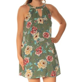 AS YOU WISH $39 Womens New 1088 Green Floral Shift Dress S Juniors B+B