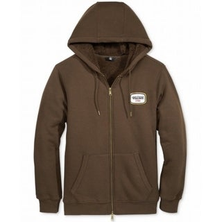 Volcom NEW Brown Mens Size Small S Zip-Up Faux-Shearling Hooded Sweater