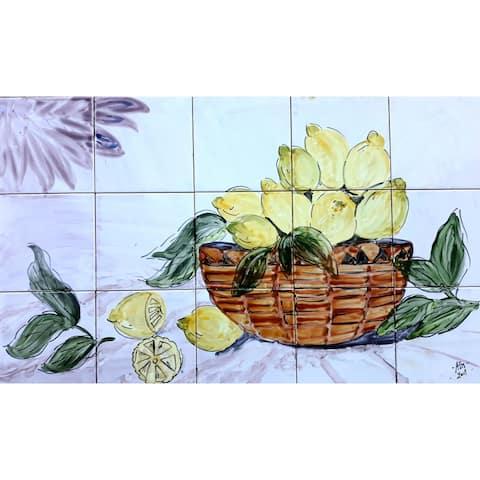 30in x 18in Kitchen Backsplash 15pc Mosaic Tile Ceramic Wall Mural