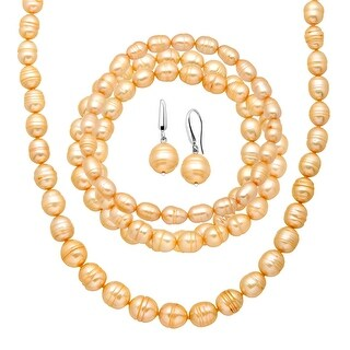 Champagne Freshwater Ringed Pearl Earring, Bracelets & Necklace Set in Sterling Silver