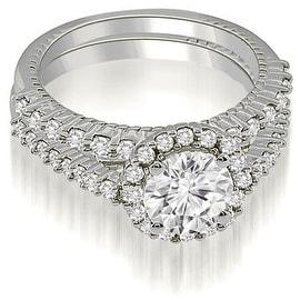 1.72 cttw. 14K White Gold Antique Halo Round Cut Diamond Bridal Set