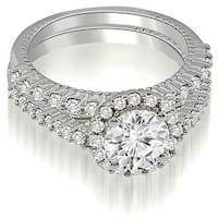 1.72 cttw. 14K White Gold Antique Halo Round Cut Diamond Bridal Set