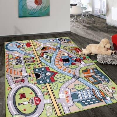 Kids Educational Learning Road Traffic System Non Slip Area Rug