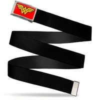 Wonder Woman Logo Fcg Red  Chrome Black Webbing Web Belt