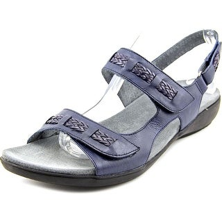 Trotters Kip Women W Open-Toe Leather Blue Slingback Sandal