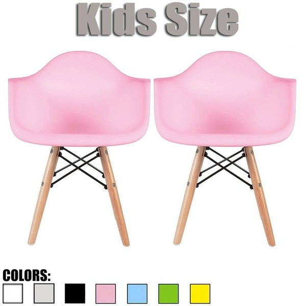 2xhome Set of 2 Modern Kids Size Molded Plastic Armchair with Arm Color Seat for Children's Room Natural Wood Eiffel Legs. Opens flyout.