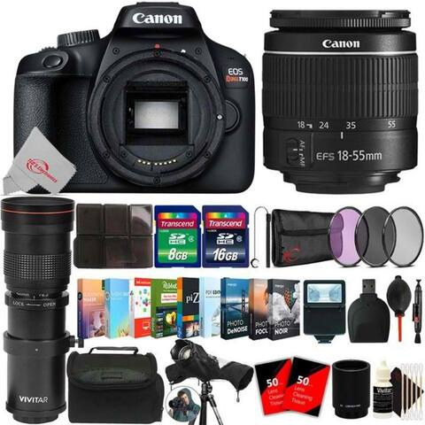 Canon EOS T100 18MP Digital SLR Camera + 18-55mm + 420-800mm Lens Bundle