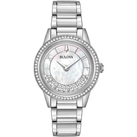 Bulova Women's 96L269 Turnstyle Stainless Crystal Accent Bracelet Watch - Silvertone