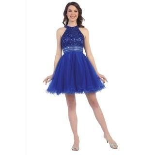 Lace and Tulle Beaded Dress (Option: M)