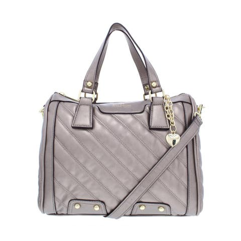 8715bc1c8cbc Juicy Couture Womens Between The Lines Satchel Handbag Faux Leather Quilted  - Medium
