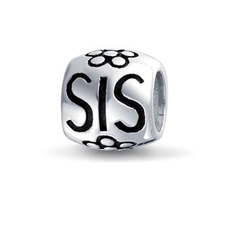 Bling Jewelry Sister Charm Bead 925 Sterling Silver Flower Barrel Message Bracelet