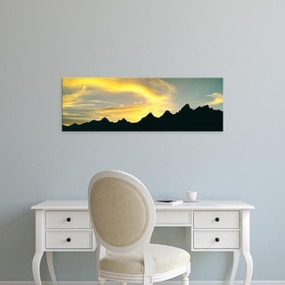Easy Art Prints Panoramic Image 'Teton Range at sunset, Grand Teton National Park, Teton, Wyoming' Canvas Art