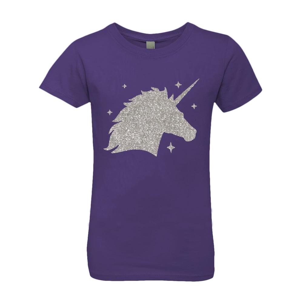 3 Pearls Designs Little Girls Black Purple Unicorn Born to Sparkle Tee 3-6X
