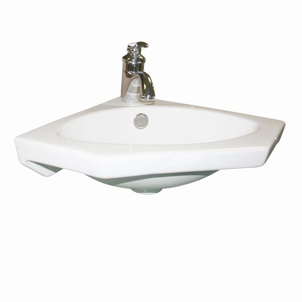 Modern Bathroom Wall Mount Corner Sink White Single Faucet Hole with Overflow