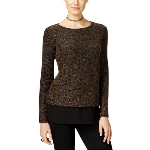 I-N-C Womens Layered Knit Blouse, Metallic, PXS
