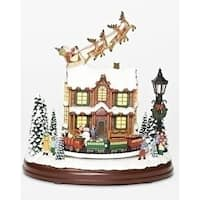 """Set of 2 Musical LED Santa Sleigh Flying Over House Decorative Tabletop Figurine 9.25"""" - Brown"""