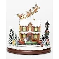 "Set of 2 Musical LED Santa Sleigh Flying Over House Decorative Tabletop Figurine 9.25"""