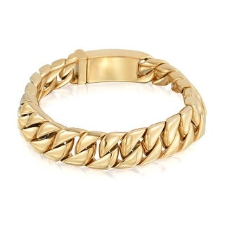 Bling Jewelry 12mm Gold Plated Steel Large Cuban Curb Chain Unisex Bracelet 8in