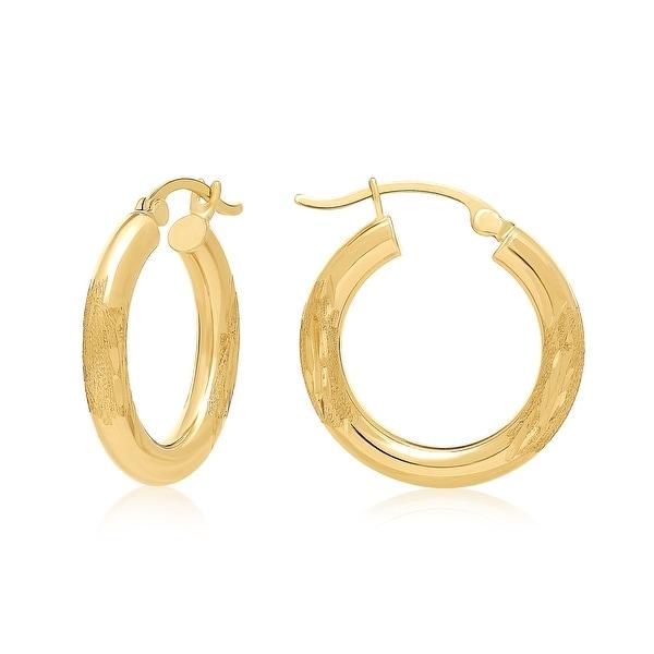 "Mcs Jewelry Inc 10 KARAT YELLOW GOLD HOOP EARRINGS WITH DESIGN (1"" DIAMETER)"