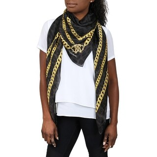 Roberto Cavalli C3S07D080207 Black/Gold Chain Shawl - 55-55