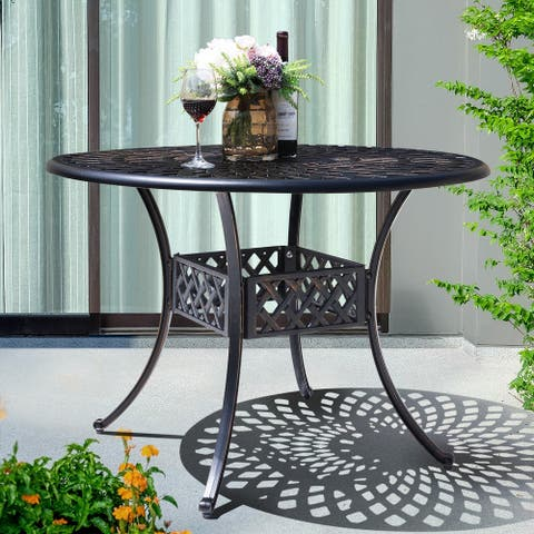 NUU GARDEN 42-in Patio Cast Aluminum Round Dining Table, Antique Bronze
