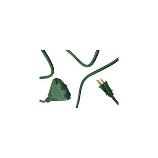 25' Stanley Green 3-Prong Outdoor Power Cord with 3-Outlet Block