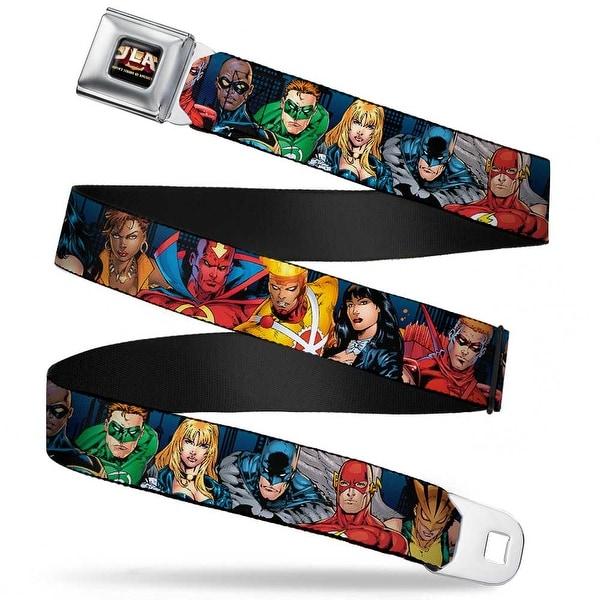 Jla Justice League Of America Logo Full Color Black Gold Red Justice League Seatbelt Belt