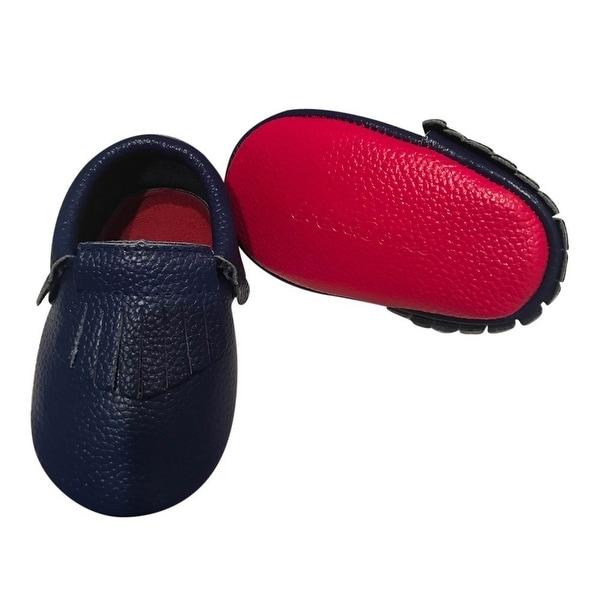 Baby Girls Dark Blue Red Soft Sole Faux Leather Tassel Moccasins 3-18M