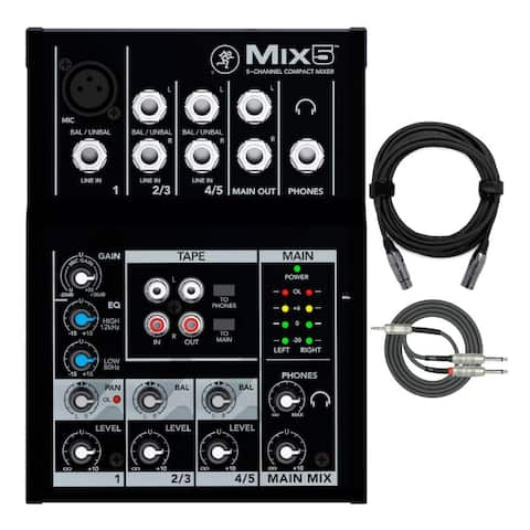 Mackie Mix5 5-Channel Compact Mixer with Knox XLR and Breakout Cable