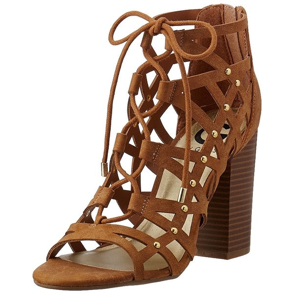 G by Guess Women's Brown Juto Lace-up Block-heel Sandals Natural - 9
