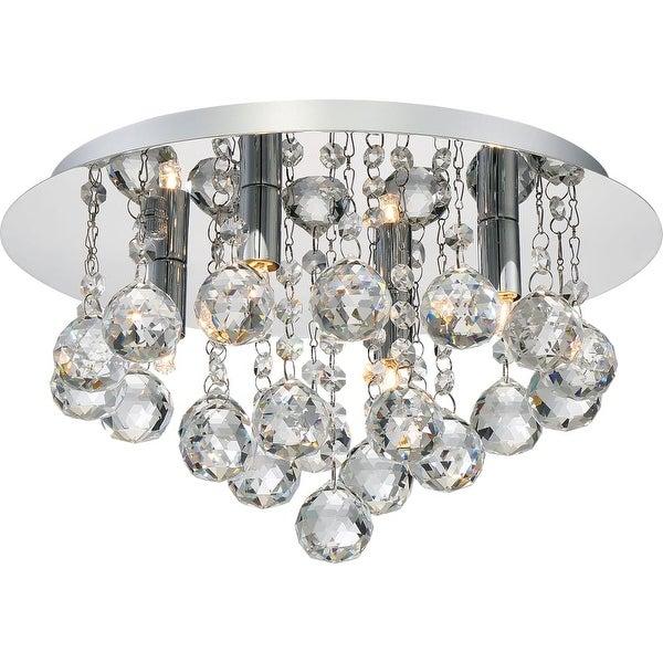 "Platinum BRX1614 Bordeaux 4-Light 14"" Wide Flush Mount Ceiling Fixture with Crystal Accents - Polished chrome"