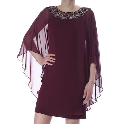 XSCAPE Purple Kimono Sleeve Above The Knee Shift Dress Size 2