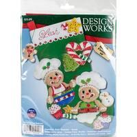 "Design Works Felt Stocking Applique Kit 18"" Long-Gingerbread Bakers"