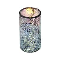 "6 Silver Flameless Wax LED Pillar Candles in Glass Mosiac Holders 3"" x 6"""