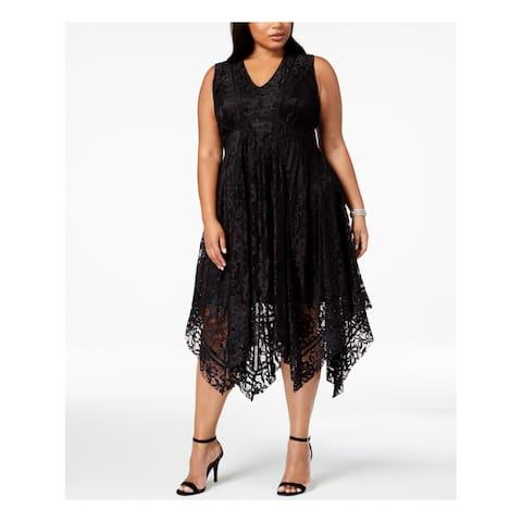 TAYLOR Womens Black Lace Handkerchief Hem Sleeveless V Neck Midi Party Dress Plus Size: 20W
