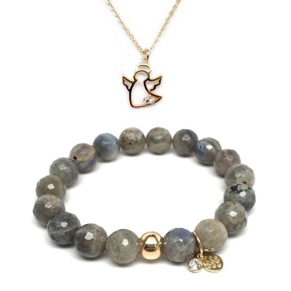 Grey Labradorite Bracelet & CZ Angel Gold Charm Necklace Set