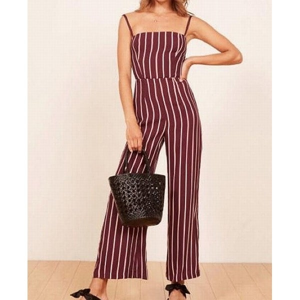 Reformation Red Whote Womens Size 6 Striped Wide Leg Jumpsuit