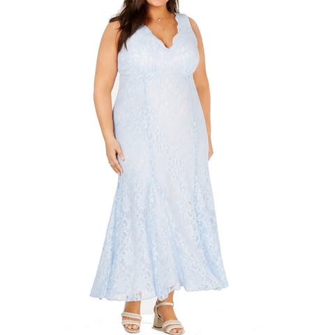Morgan & Co Women's Dress Blue Size 20W Plus Gown Glitter-Lace Floral