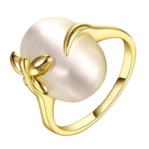 Gold Plated Closing Pearl Center Ring