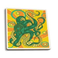 Kraken - Letterpress - LP Artwork (Set of 4 Ceramic Coasters)