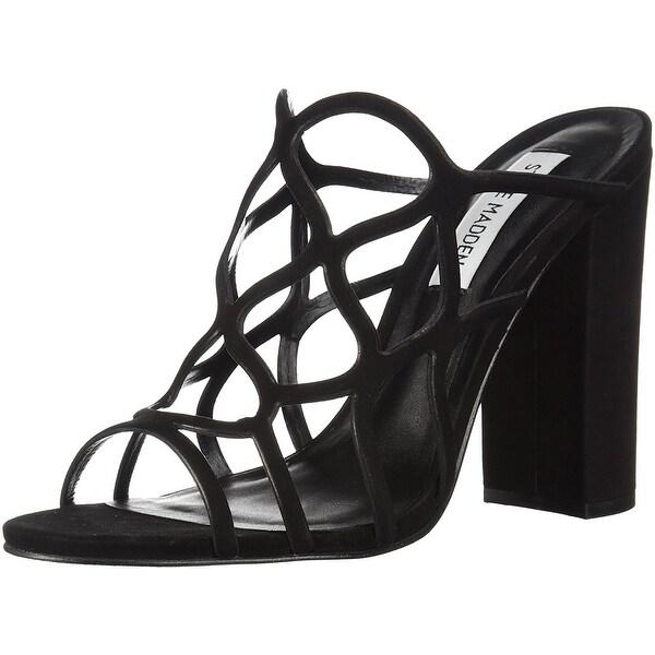 Steve Madden Women's Carlita Heeled Sandal, Black Nubuck, Size 9.5