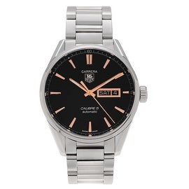 Tag Heuer Men's WAR201C.BA0723 'Carrera' Stainless Steel Black Dial Bracelet Watch