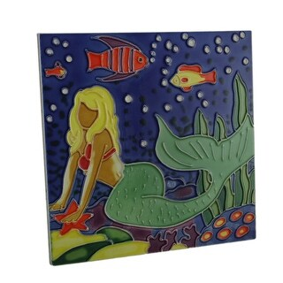 Colorful Mermaid Ceramic Standing Tabletop Tile or Wall Hanging 8 Inch