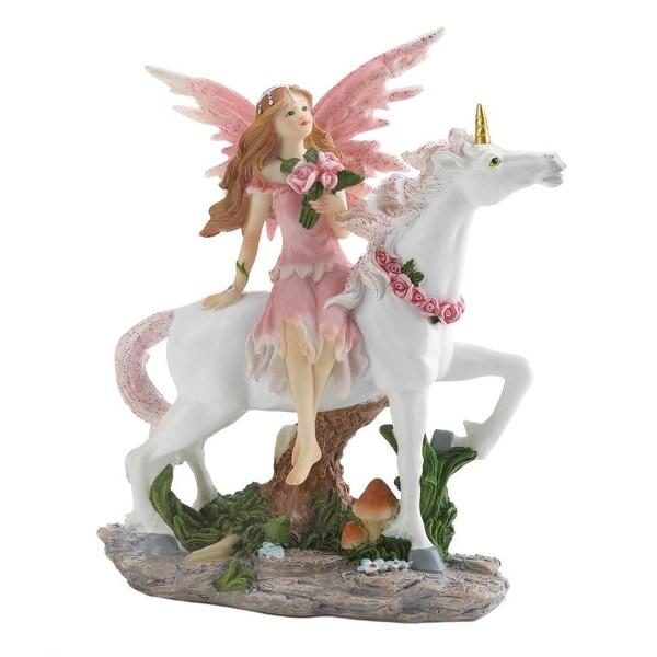 Creative Pink Fairy With Unicorn Figurine
