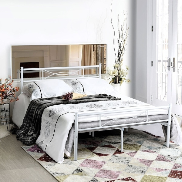 Queen size Metal Bed Frame Platform Mattress Foundation with Headboard (Black & White). Opens flyout.